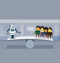 Human vs robots modern robotic and business people vector