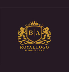 Initial ba letter lion royal luxury logo template vector