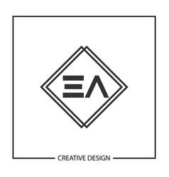 initial letter ea logo template design vector image
