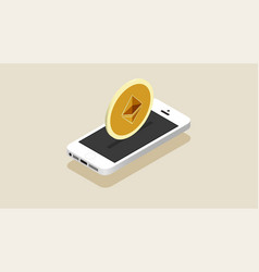 isometry white smartphone and cryptocurrency coin vector image