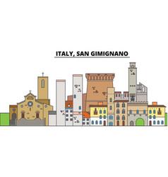 italy san gimignano city skyline architecture vector image