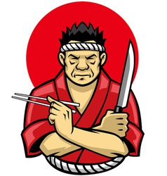 Japanese chef crossing arm vector