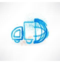 lorry globe grunge icon vector image