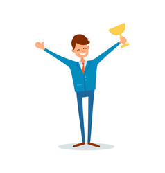 Man holding gold cup award businessman with prize vector