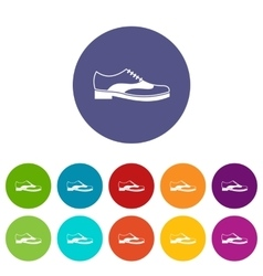 Men shoe with lace set icons vector