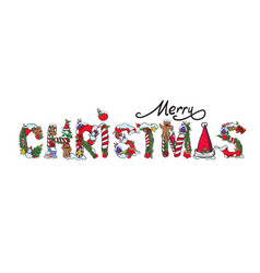 Merry christmas greeting card typography letter vector