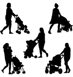 Mom and pram vector