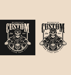 motorcycle vintage monochrome label vector image