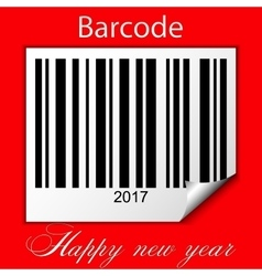 New year 2017 barcode on red background vector