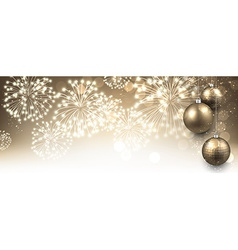 New Year banner with fireworks vector image