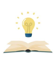 Open green book with lightbulb flat design vector