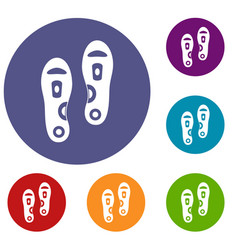 Orthopedic insoles icons set vector