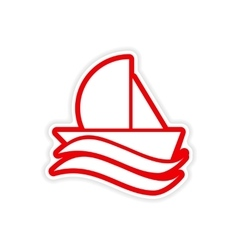 paper sticker sailing ship on white background vector image
