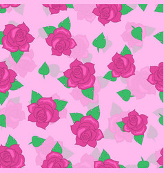 pink rose with green leaf seamless pattern vector image