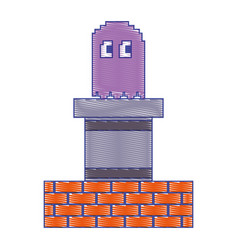 pixel ghost and wall brick game play arcade vector image