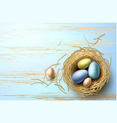 quail chicken eggs in nest easter holiday vector image