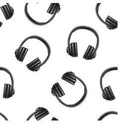 realistic 3d black earphones seamless pattern vector image