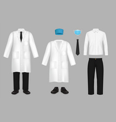 realistic doctor suit set isolated vector image