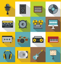 Recording studio items icons set flat style vector