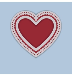 Red paper heart isolated on blue background vector