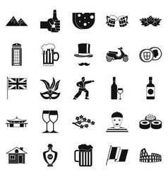 rest zone icons set simple style vector image