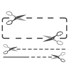 scissors silhouette with dotted line vector image
