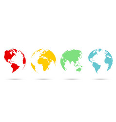set 3d earth globe in flat style vector image