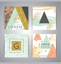set abstract geometric backgrounds vector image