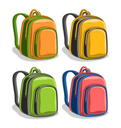 Set colorful school backpacks vector