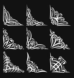 Set decorative white corners vector