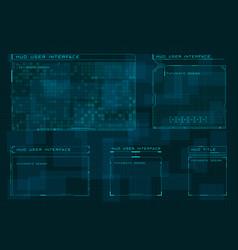 set hud user screen interface on dark blue vector image