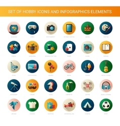 Set of modern flat design hobby icons and vector image