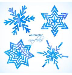 set watercolor snowflakes vector image