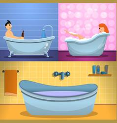 shower bathtub banner set cartoon style vector image