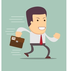 Smiling businessman running to work vector image