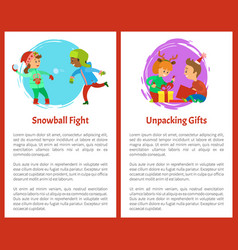 snowball fights and unpacking gifts postcards vector image