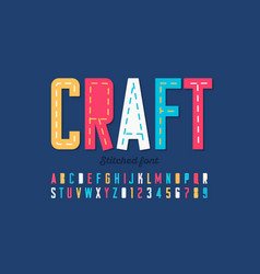 Stitched font running stitch alphabet letters vector