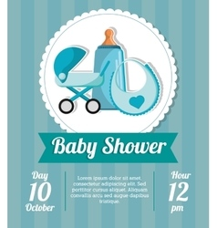 Stroller bottle and bib of baby shower card design vector image