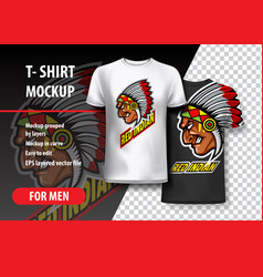 T-shirt mockup with indian side head fully vector