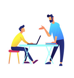 teacher giving a lecture and student with laptop vector image