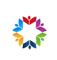 Teamwork books colorful logo vector