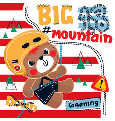 teddy bear climbing up on mountain using rope vector image