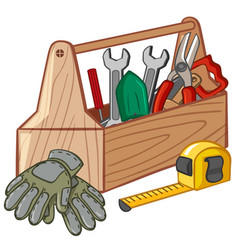 Toolbox with many tools vector