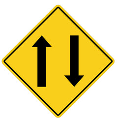 two way traffic ahead sign on white background vector image