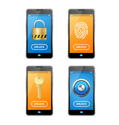 unlock screen concept mobile ui set vector image