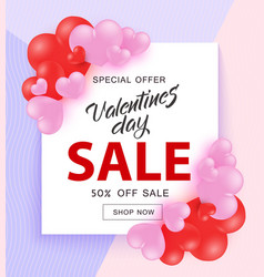 valentine day sale banner with sign on square vector image