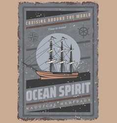 vintage colored maritime poster vector image