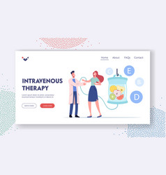 Vitamins drip iv therapy landing page template vector