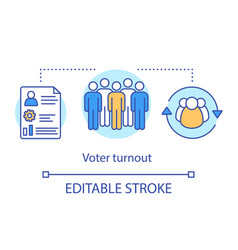 Voter turnout concept icon elections idea thin vector