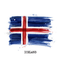 watercolor painting flag of iceland vector image